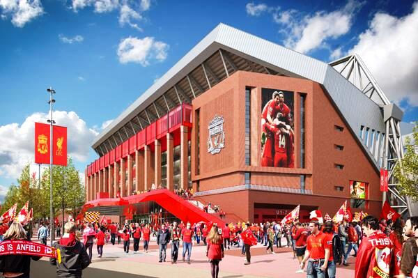 Proposed Main Stand design of the redeveloped Anfield © Liverpool FC