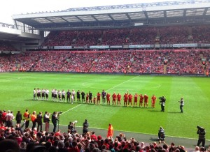 Celebration of the 96 match at Anfield. Pic © JMU Journalism
