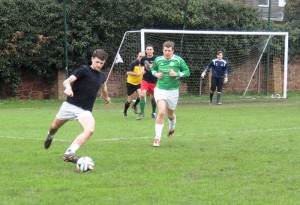 Jack Maguire (left) and Bart Kalanski (far right in goal) combined to deny the Alumni an equaliser