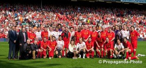 Liverpool legends gather after the 2-2 draw in the Celebration of the 96 match at Anfield. Pic © David Rawcliffe/Propaganda