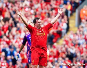 Robbie Fowler celebrates after scoring in the Celebration of the 96 match at Anfield. Pic © David Rawcliffe/Propaganda