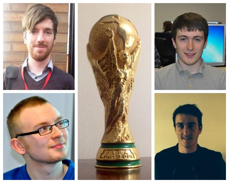 JMU Journalism students working for FIFA (from top left clockwise): Jack Birch, Niall Dudley, Jack Horrocks and Paul McIntyre