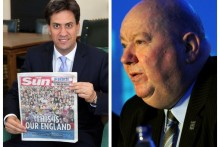 Labour leader Ed Miliband has apologised after posing with a copy of The Sun, following criticism by MPs and Liverpool Mayor Joe Anderson.