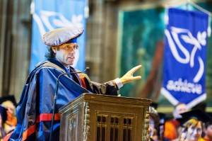 John Bishop addresses the graduates and audience members after receiving the LJMU Honorary Fellowship © LJMU