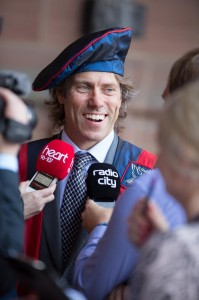 John Bishop meets the media and chats about his LJMU Honorary Fellowship © LJMU