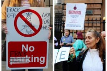 Anti-fracking protesters gathered outside Liverpool Town Hall in a demonstration against fuel extraction plans.