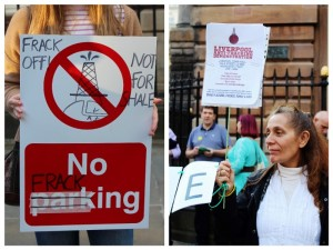 Anti-fracking demonstration outside Liverpool Town Hall. Pics © JMU Journalism