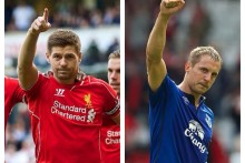 An injury-time equaliser by Phil Jagielka cancelled out Steven Gerrard's goal to earn Everton a 1-1 draw at Liverpool.
