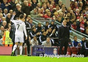 Cristiano Ronaldo was applauded off the pitch after orchestrating Real Madrid's 3-0 win against Liverpool at Anfield. Pic © David Rawcliffe / Propaganda Photo