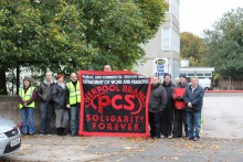 A demonstration was held at the Department for Work and Pensions in Garston over plans to close the call centre.