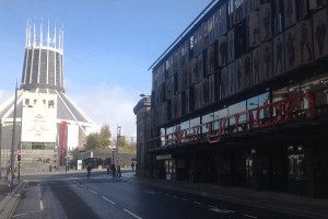 The Metropolitan Cathedral and Everyman Theatre in Hope Street. Pic © JMU Journalism