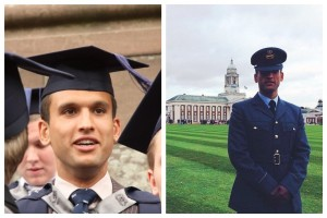 Two graduation days for Ayden Feeney: (left) completing his degree at JMU Journalism in 2011 and (right) in 2014 after becoming a commissioned officer in the RAF