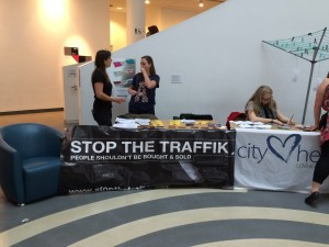 Stop the Traffik and City Hearts charities volunteers at the Museum of Liverpool. Pic © JMU Journalism