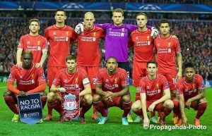 Calm before the storm: Liverpool line up ahead of their Champions League match against Real Madrid. Pic © David Rawcliffe / Propaganda Photo