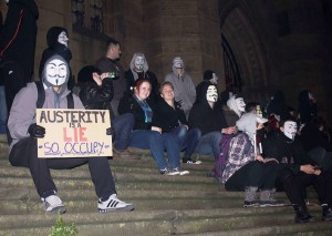 'Anonymous' protest at St Luke's Church in Liverpool. Pic by Kaltun Abdillahi © JMU Journalism
