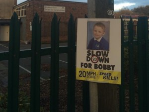 Poster of Bobby Colleran outside Blackmoor Park School. Pic © Richie Williams