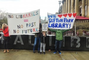 Protesters from Sefton Park Library, campaigning outside Central Library. Pic by Melissa McFarlane © JMU Journalism