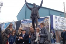 Hundreds of football fans gathered outside Prenton Park as a statue was unveiled of Tranmere Rovers legend, Johnny King.