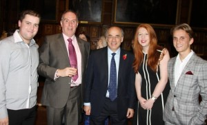JMU Journalism students Daniel Wilson (left), Olivia Swayne-Atherton and Connor Dunn (right) with LJMU lecturer Glyn Môn Hughes and Chancellor Sir Brian Leveson (centre). Pic © JMU Journalism