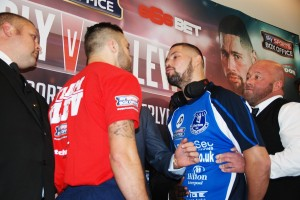 Nathan Cleverly (left) goes head-to-head with Tony Bellew at the pre-fight press conference. Pic by Adam Jones © JMU Journalism