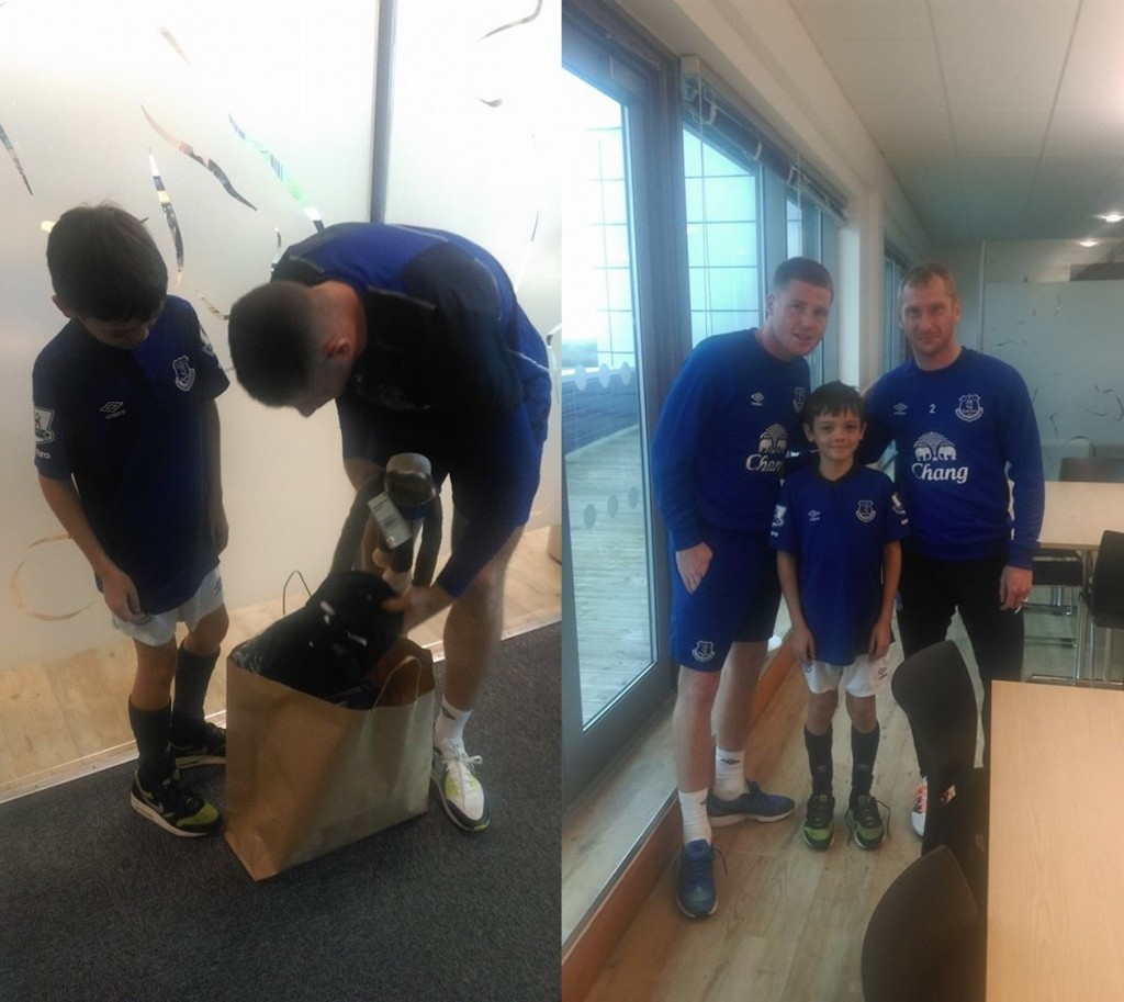 Regan receiving his goody bag from Barkley (left) and with James McCarthy and Tony Hibbert (right) © Rita Georgeson