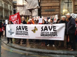 Campaigners gathered outside Liverpool's town hall to protest against development on green spaces