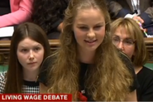 A Liverpudlian teen spoke in the House of Commons on the Living Wage as part of the UK Youth Parliament.