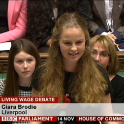 Ciara Brodie in the House of Commons. Pic © BBC News