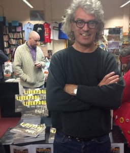 Dave Sinclair at book store News from Nowhere, Bold Street, for his book signing © Michael Glynn