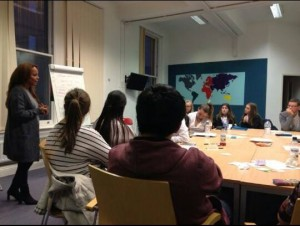 Cllr Anna Rothery talking to young people about politics at Merseyside Youth Association (MYA)  © Carolyn Boyce