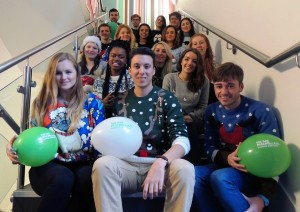 Just some of the JMU Journalism students in Christmas jumpers for the start of December 2014. Pic by Stephanie Bewley