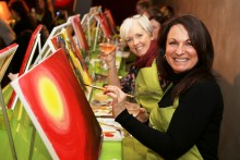 Drinkers and art lovers hit the canvas at the launch of a new themed night out in town called 'Paint Nite'.