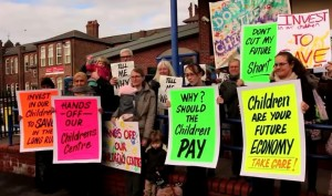 Protest against children's centre closures in Liverpool this month. Pic by JMU Journalism