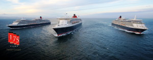 Cunard plans to bring three of its fleet up the Mersey as part of its 175th birthday celebrations © Cunard