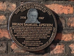 Plaque commemorating Brian Epstein outside his birthplace on Rodney Street. Pic © Matthew Judge