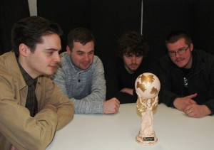 Eyes on the prize. JMU Journalism World Cup team captains (from left): Josh Kelsall (Level 3); Chris Shaw (Alumni); Josh Doherty (Level 1) and Steven Carson (Level 2). Pic © JMU Journalism
