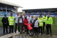Football fans showed their support for a 13-year-old boy doing an 800-mile challenge cycling ride.