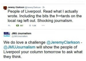 Jeremy Clarkson blasts the Liverpool Echo's story about his Sunday Times column. Pics © Jeremy Clarkson / JMU Journalism / Twitter