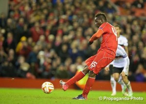 Mario Balotelli scored the only goal of the game with a penalty for Liverpool against Besiktas. Pic © David Rawcliffe Propaganda Photo
