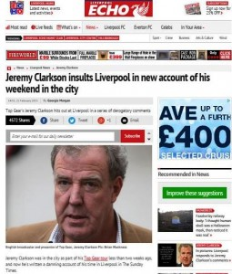 The Liverpool Echo website's original story about Jeremy Clarkson's Sunday Times column on his weekend in the city. Pic © Echo / Trinity Mirror