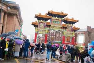 Wet weather greeted the Chinese New Year celebrations in Liverpool's Chinatown. Pic © Natalie Townsend JMU Journalism