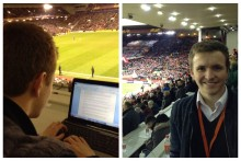 Everton fan Adam Jones blogs about working in the press box on a European night at Anfield reporting on derby rivals Liverpool.