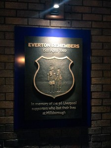 The plaque unveiled at Goodison for the 96 © Victoria Carlin