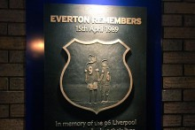 A plaque to remember the 96 Liverpool fans who died at Hillsborough was unveiled this weekend at Goodison Park