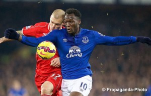 Liverpool's Martin Skrtel clashes with Everton's Romelu Lukaku in the Merseyside derby at Goodison Park. Pic © David Rawcliffe / Propaganda Photo