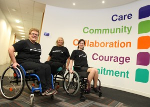 NHS staff members who took part in the wheelchair challenge. Pic © Liverpool Community Health NHS Trust