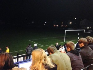 Floodlights out at Marine FC during the JMU Journalism Sport live match exercise.