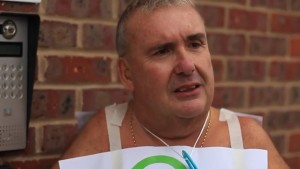 Gary Skyner protests outside the headquarters of Grunenthal. Pic © Jake Shotton-Wilson / YouTube