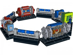A CGI render of Nathan's Lego design of the Large Hadron Collider Pic © Nathan Readioff