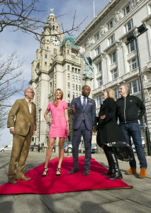 Wayne Hemingway, Very model Arabella,  Kenyatte Nelson, marketing director at Very Big Catwalk Team in front of the famous Cunard © Dave Kendal